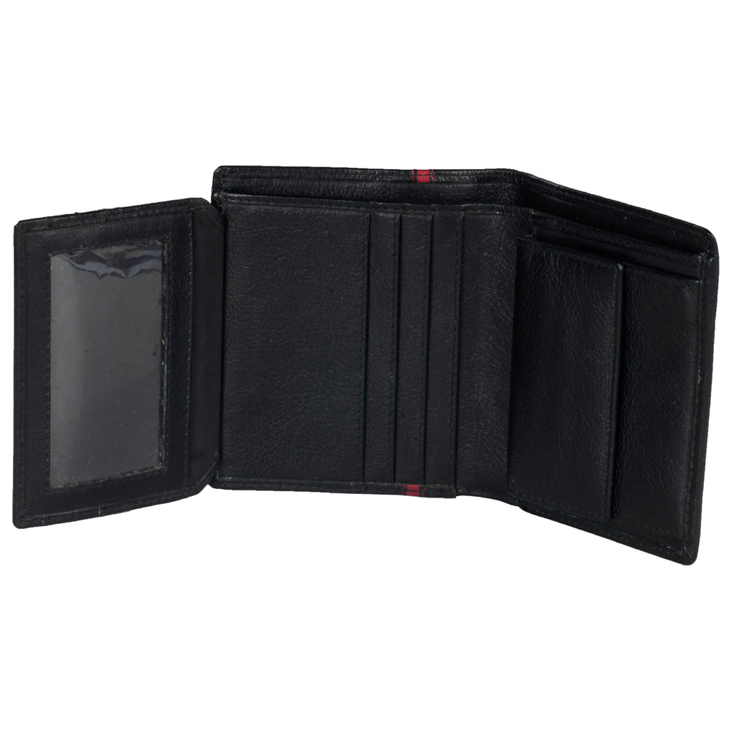 Boston Genuine Leather Men Black Red Billfold Wallet