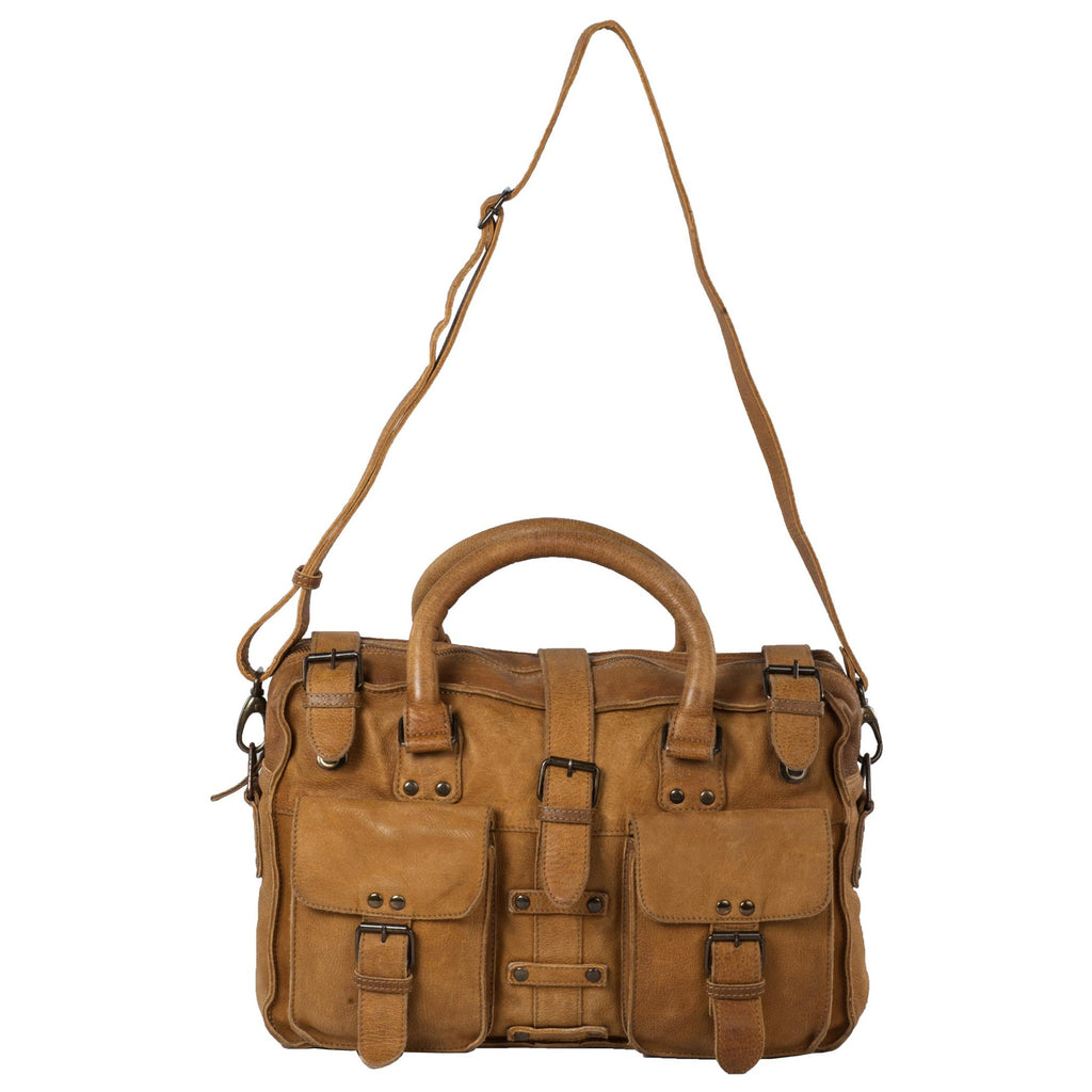 Victoria Genuine Leather Women Tan Shoulder Bag