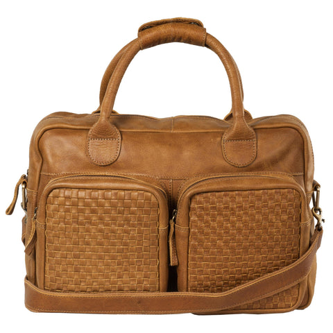 Manhattan Genuine Washed Leather Men Tan Portfolio Bag