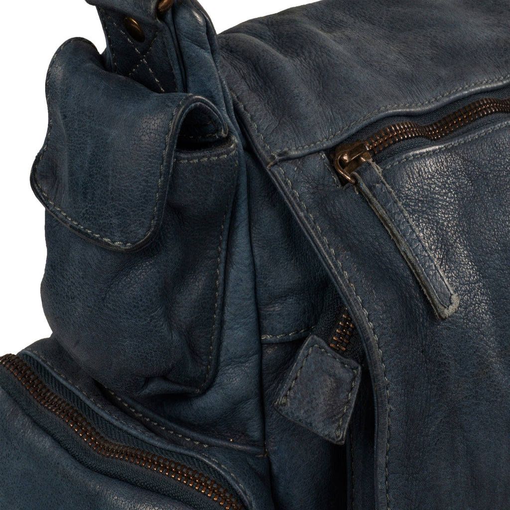 Bradley Genuine Leather Unisex Blue Messenger Bag