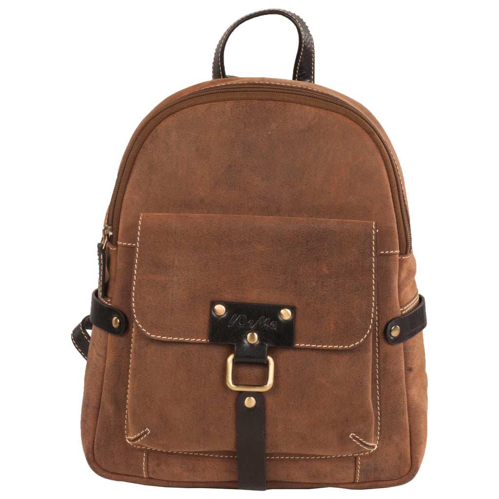 River Genuine Leather Unisex Brown Mini Backpack Bag