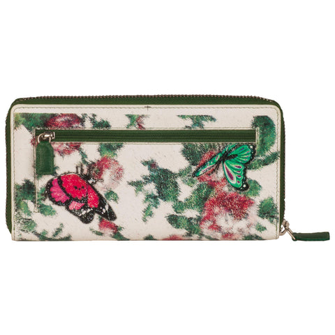 Paris Genuine Leather Women MultiColoured Butterfly Printed Clutch Wallet
