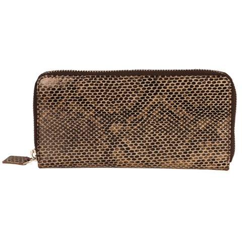 Paris Genuine Leather Women Black Lizard Print Clutch Wallet