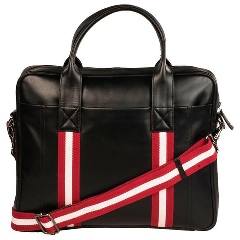 River Genuine Leather Unisex Black Chrome Laptop Bag