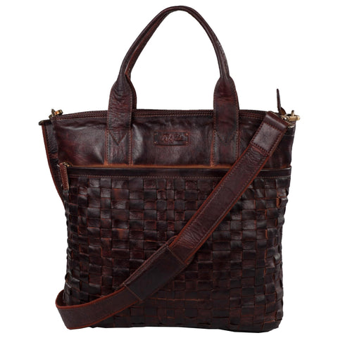 Victoria Genuine Leather Women Brown Hand Woven Shoulder Bag