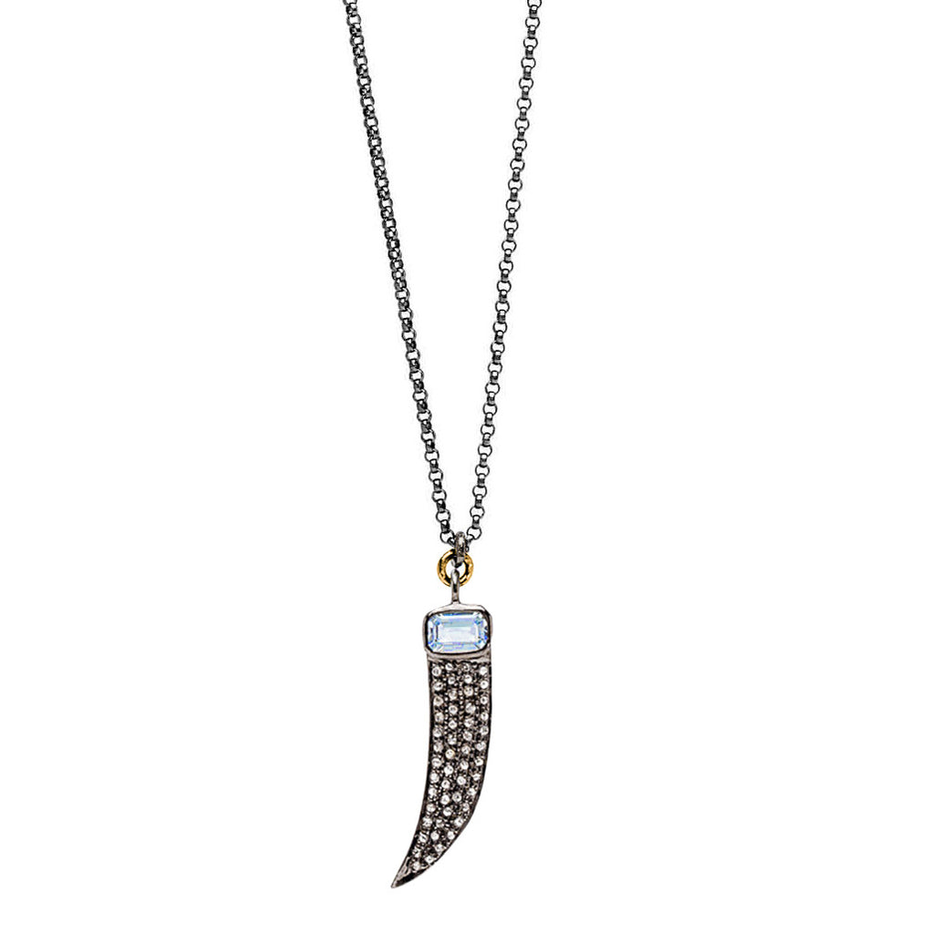 Womens Designer Pave Diamond and Blue Topaz Claw Necklace