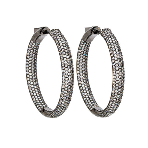 Womens Designer Black Rhodium Plated Hoop Earrings