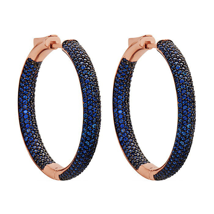 Womens Luxury Sapphire Blue Rose Gold Tire Hoop Earrings