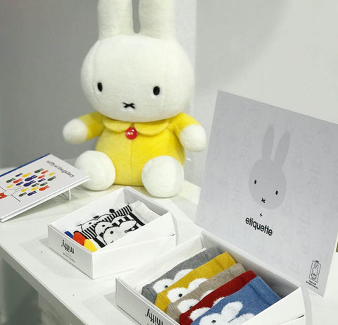 Etiquette Clothiers new baby socks collection at Playtime Paris featuring Miffy x Etiquette baby socks bundle