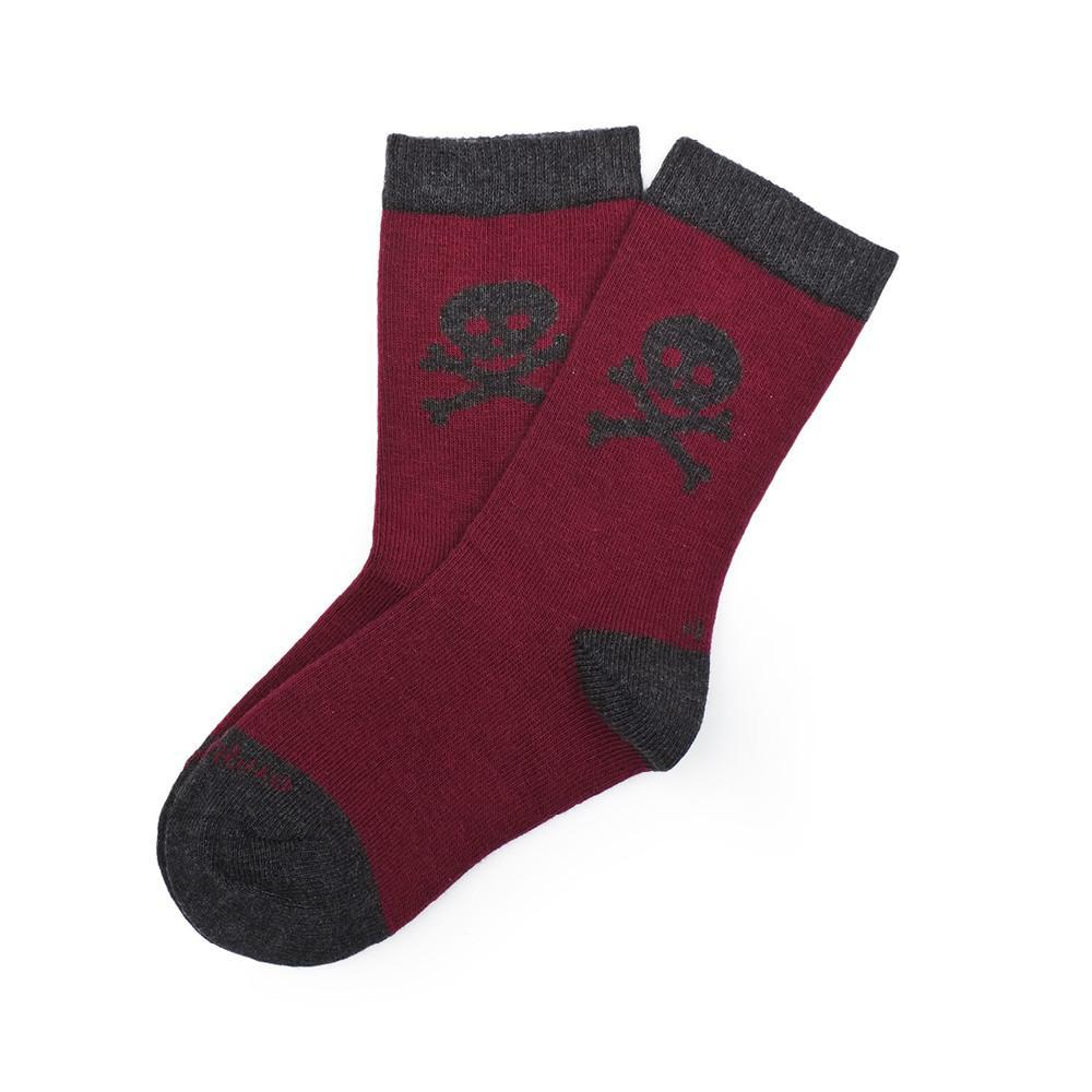 Crossbones - Bordeaux - Kids Socks - Etiquette - global.etiquetteclothiers.com