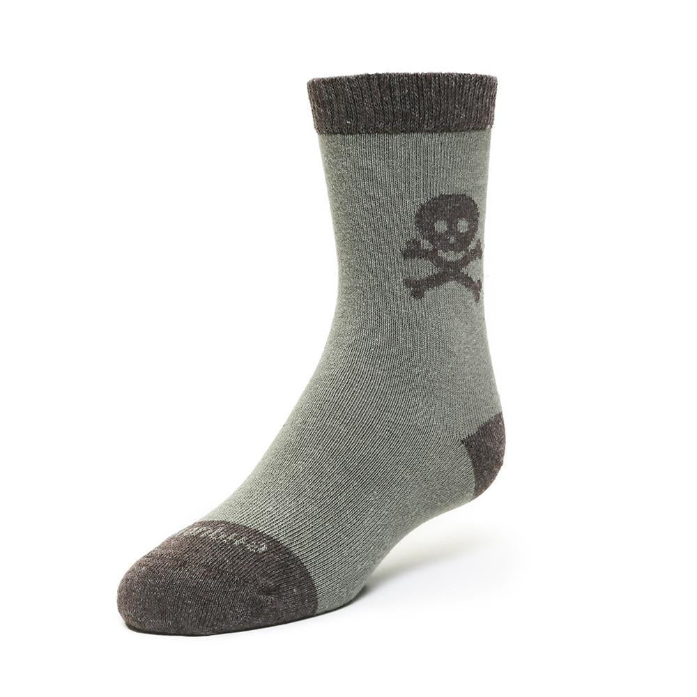 Crossbones - Olive Green - Kids Socks - Etiquette - global.etiquetteclothiers.com