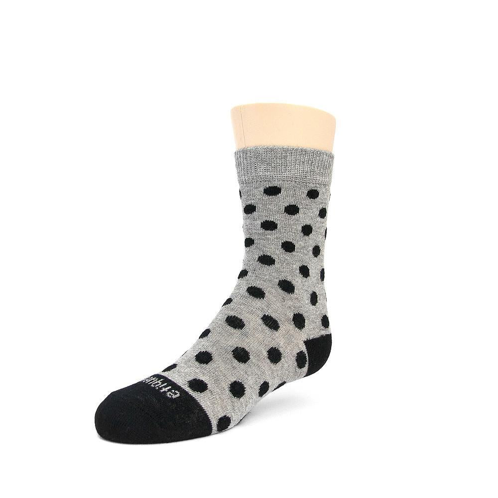 Polka Spots - Ash Grey Heather - Kids Socks - Etiquette - global.etiquetteclothiers.com
