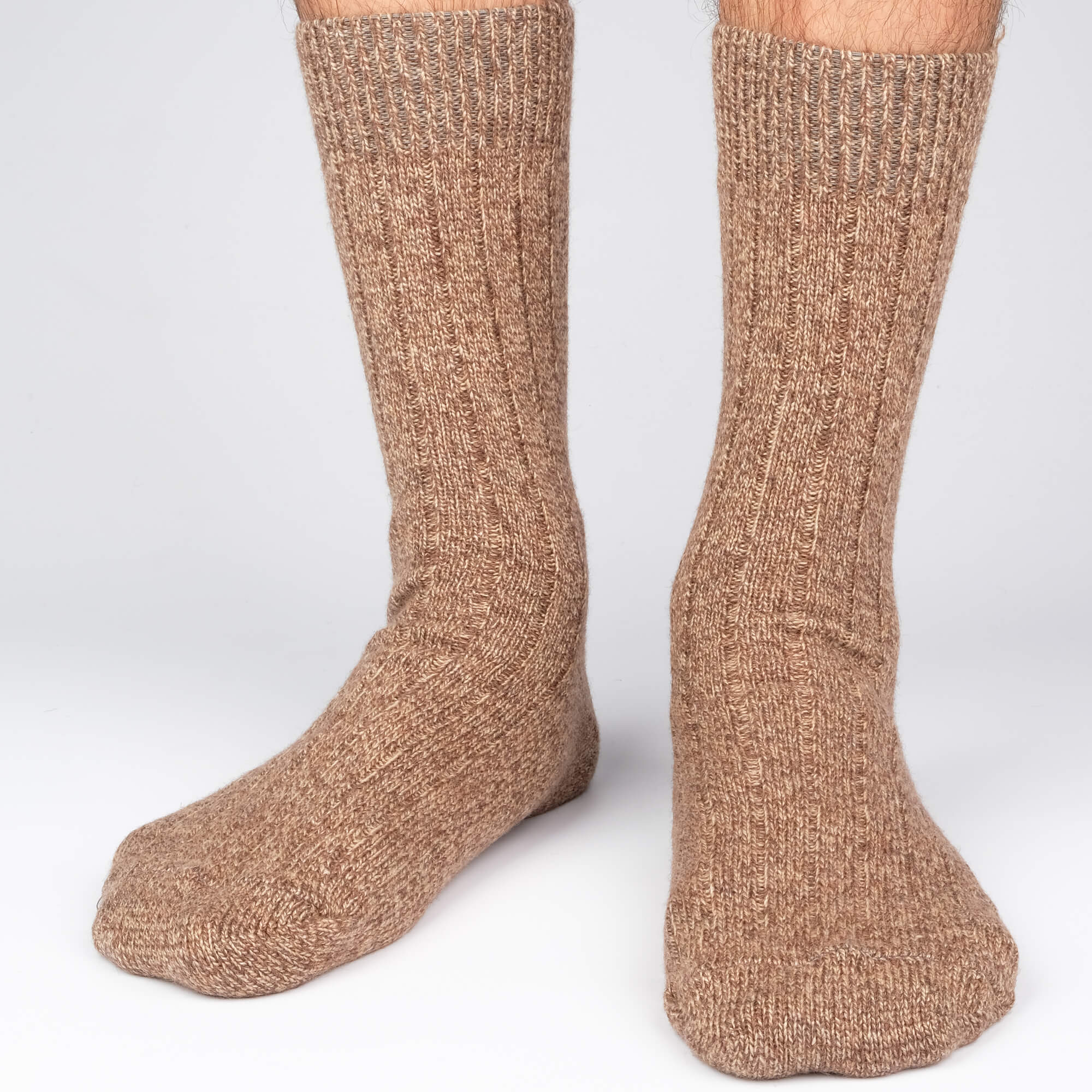 Cashmere Boot Rib - Brown - Mens Socks | Etiquette Clothiers Global Official