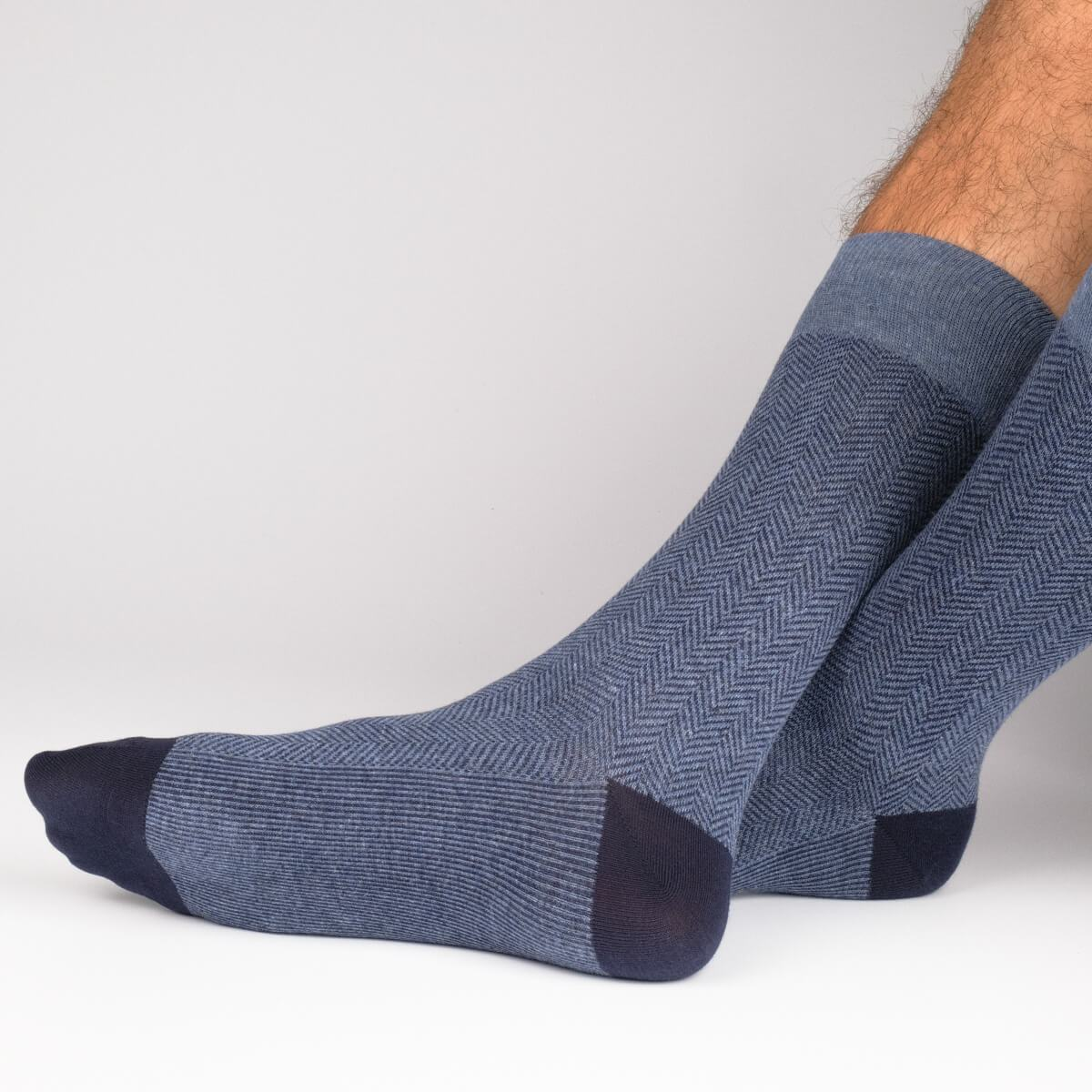 Herring With A Bone - Blue - Mens Socks | Etiquette Clothiers Global Official