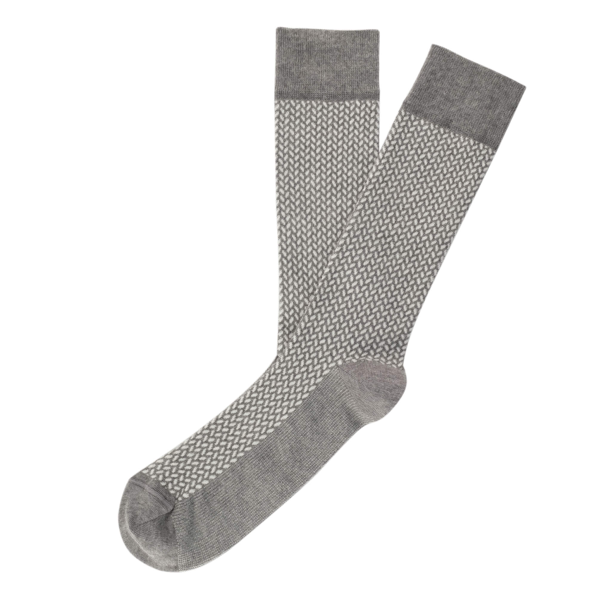 Herringbone Blocks Men's Socks - Grey