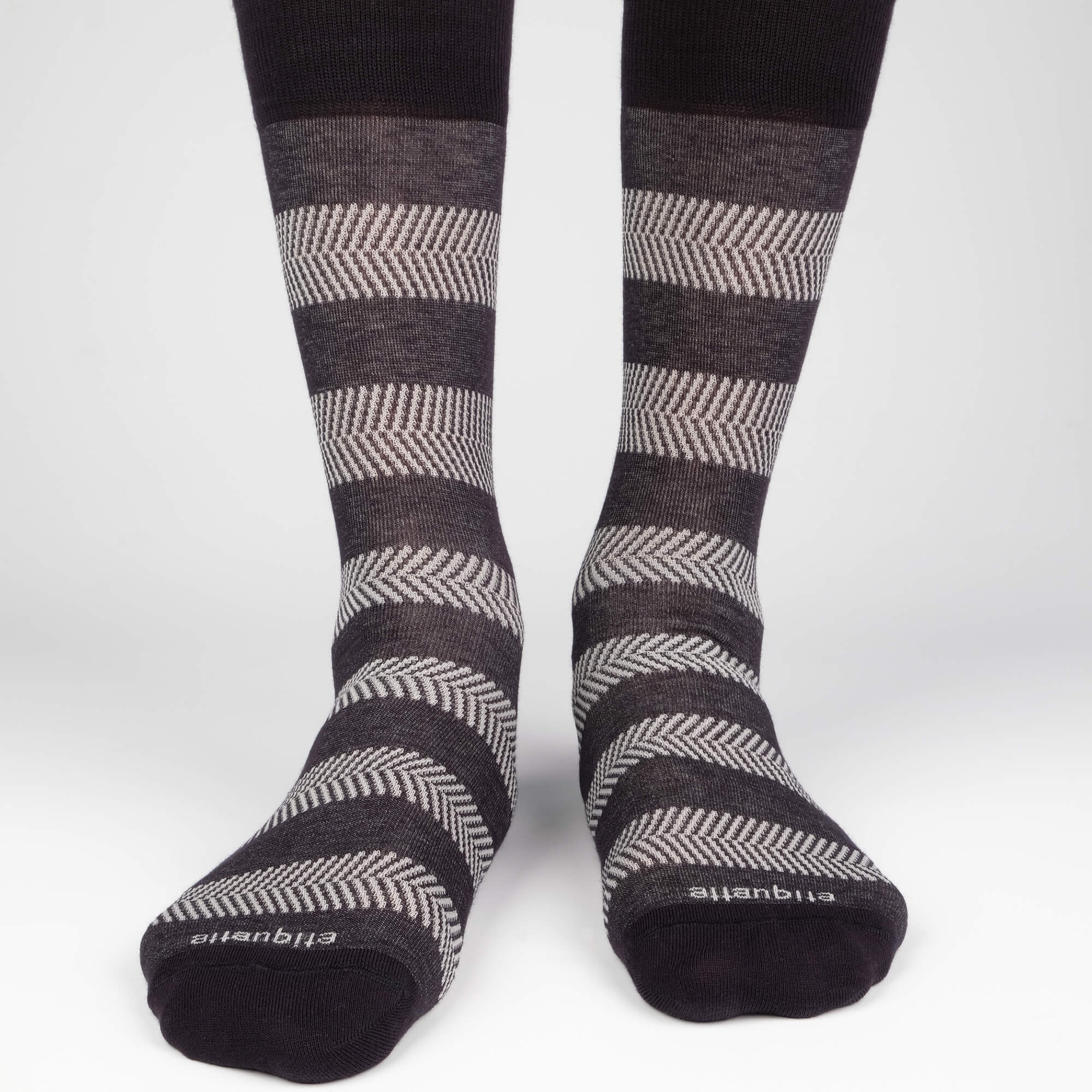 Herringbone Stripes - Black - Mens Socks | Etiquette Clothiers Global Official