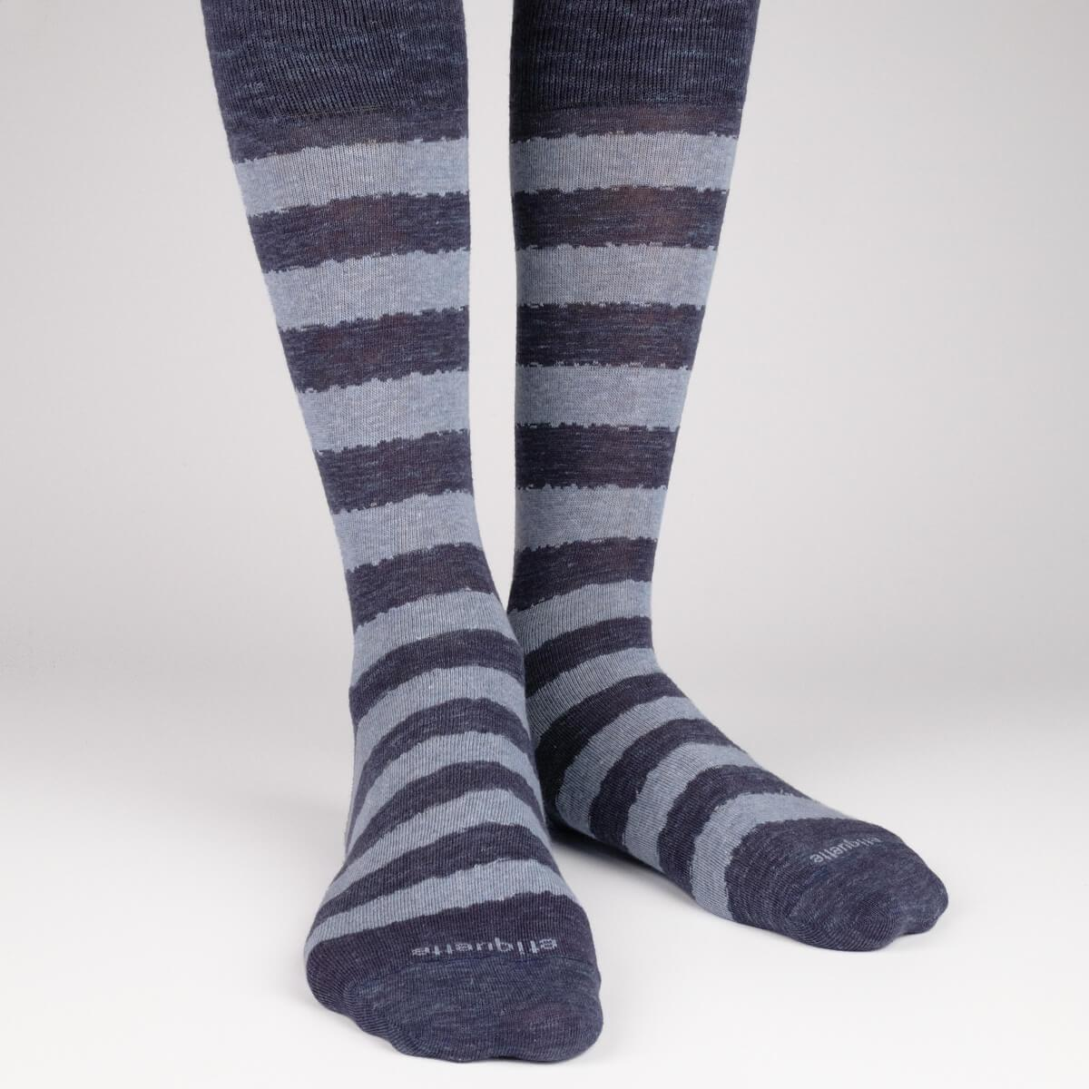 Iona Stripes Slub - Dark Blue - Mens Socks | Etiquette Clothiers Global Official