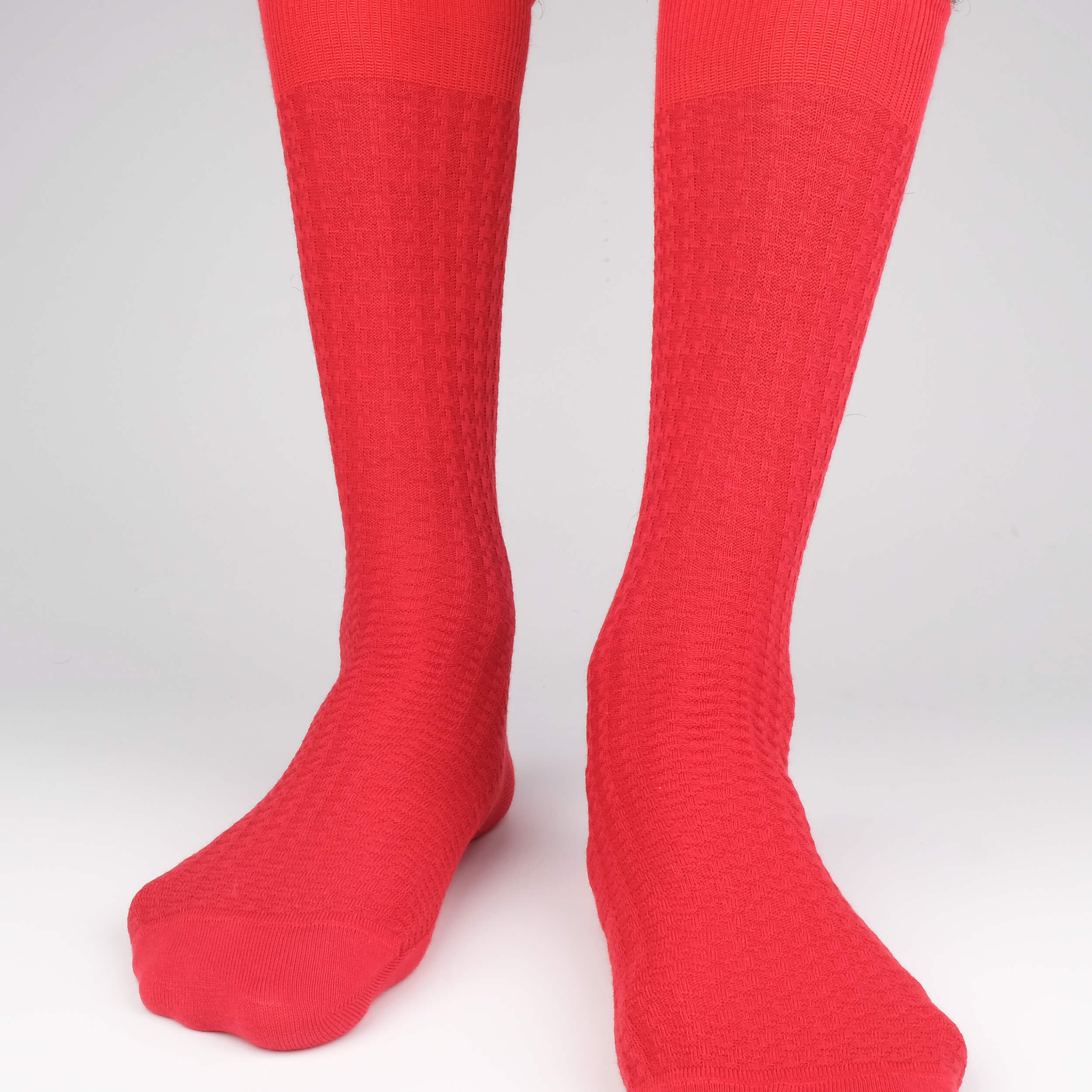 Hounds Waffle Textured Men's Socks - Red