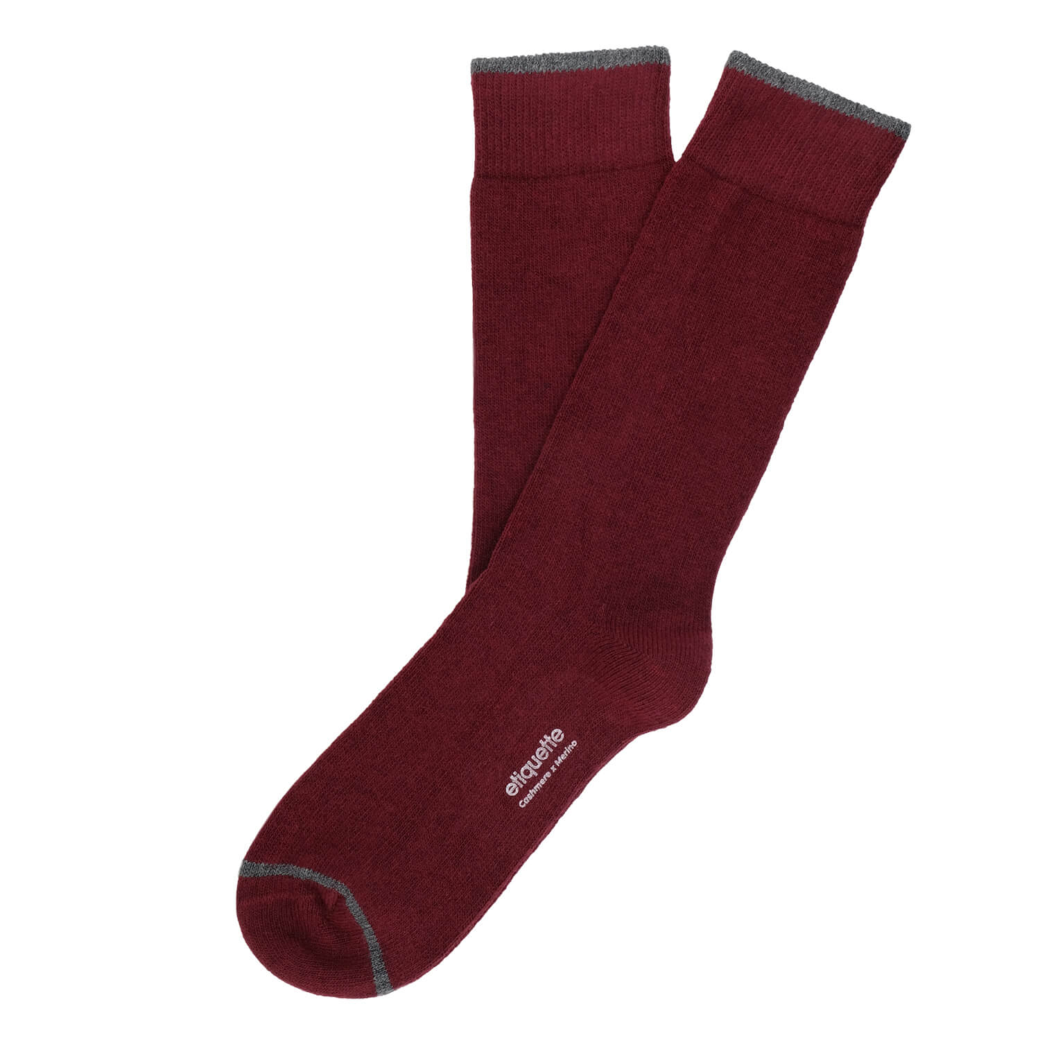 Cashmere Flat Knit - Bordeaux - Mens Socks | Etiquette Clothiers Global Official