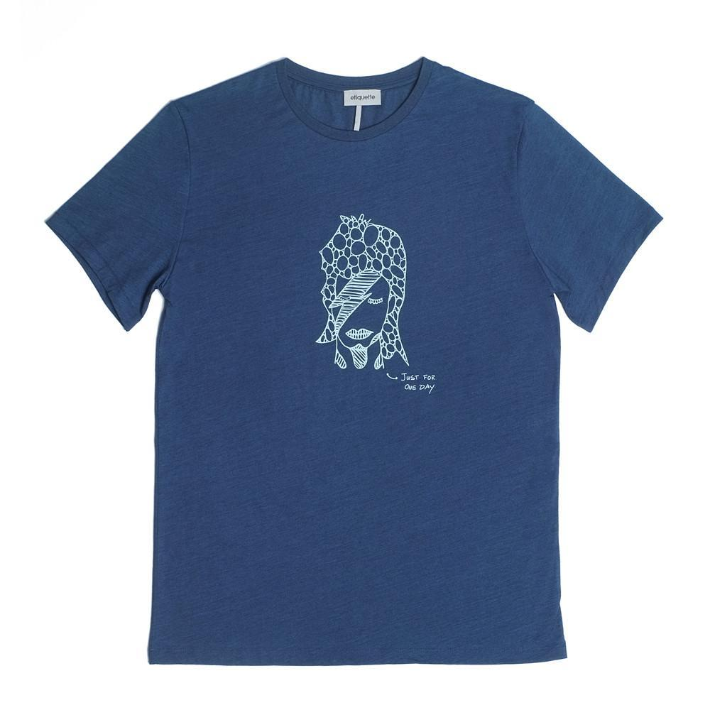 Bedford Crew Neck T  'Just For One Day' - Indigo Dye - Loungewear - Etiquette - global.etiquetteclothiers.com