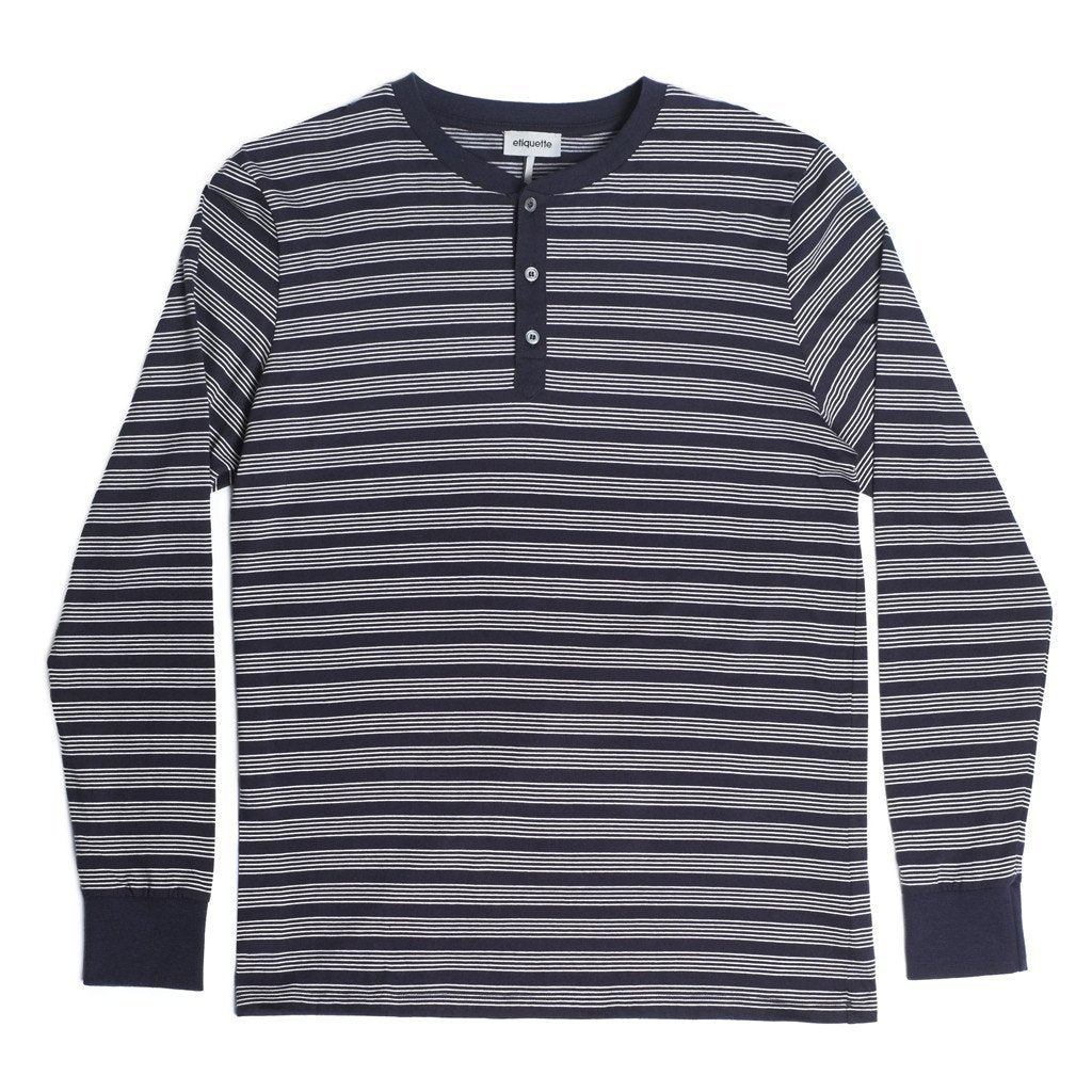 George Henley Crewneck Long Sleeve - Navy - Loungewear - Etiquette - global.etiquetteclothiers.com