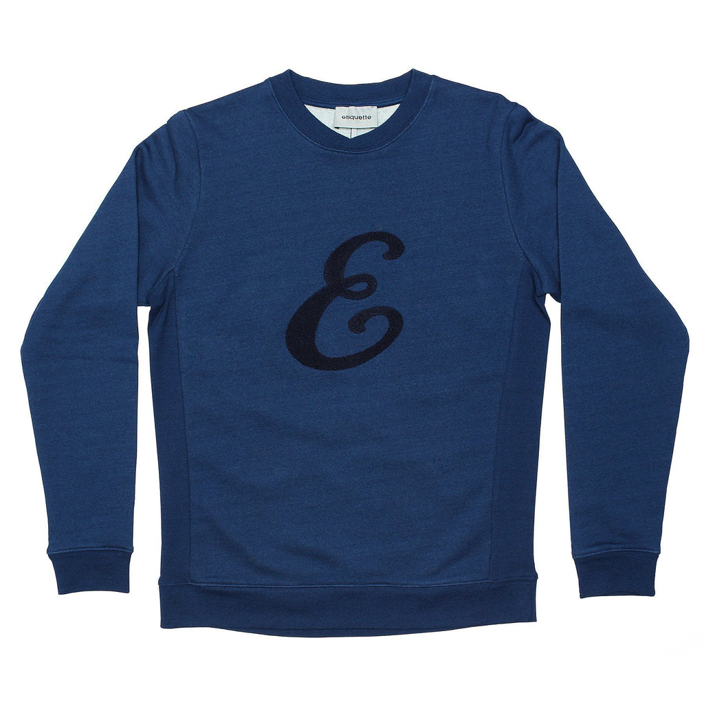 "Washington Sweatshirt ""E"" - Indigo Dye - Loungewear - Etiquette - global.etiquetteclothiers.com"