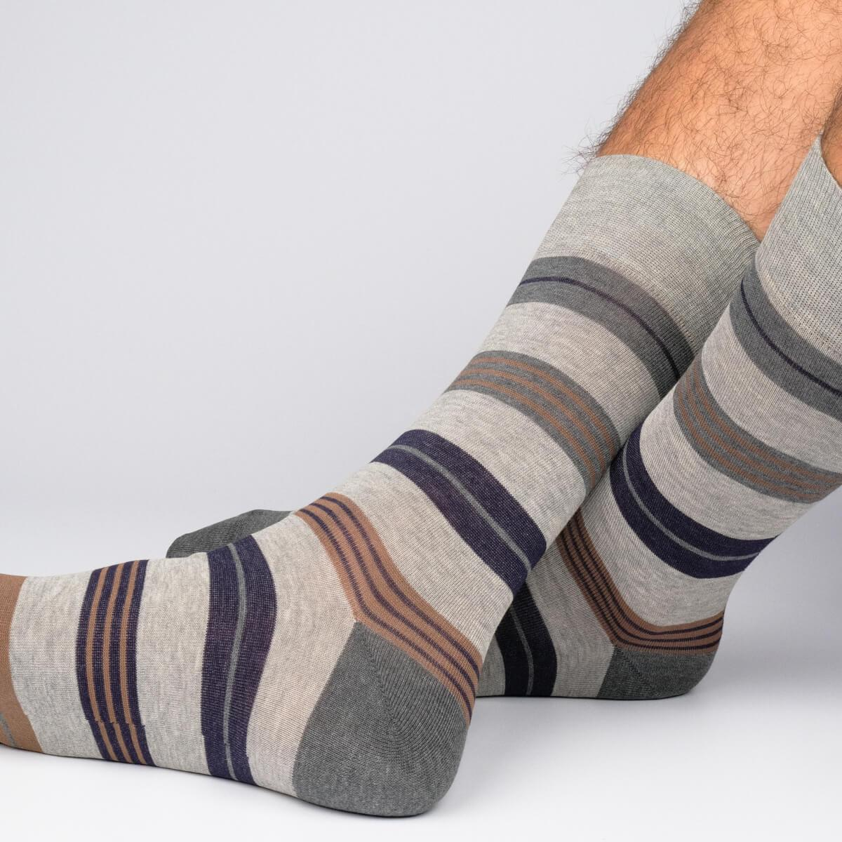 Amsterdam Stripes - Grey - Mens Socks | Etiquette Clothiers Global Official