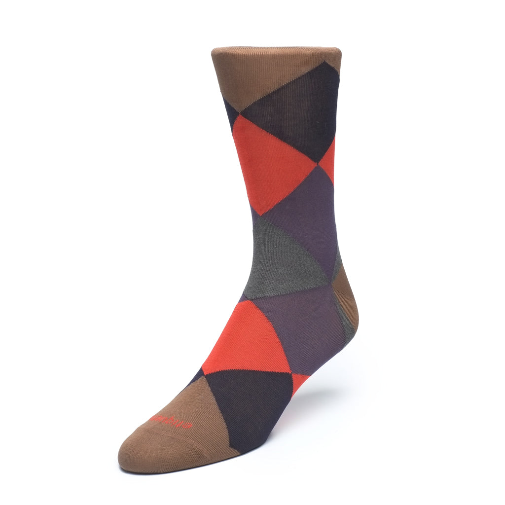Harlequin - Brown - Socks - Etiquette - global.etiquetteclothiers.com