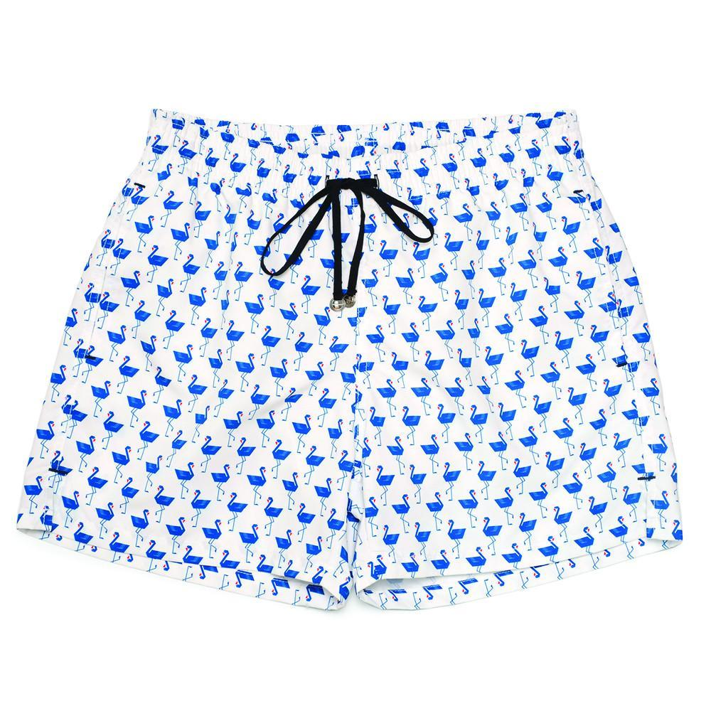Corsaro Swim Trunk Flamingo - White - Mens Swimwear | Etiquette Clothiers Global Official