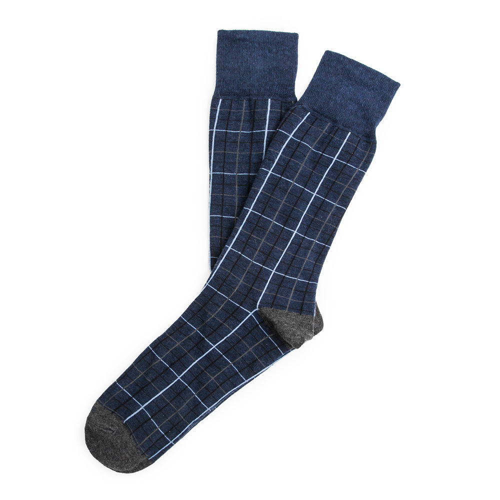 Harbour Windowpane - Blue - Mens Socks | Etiquette Clothiers Global Official