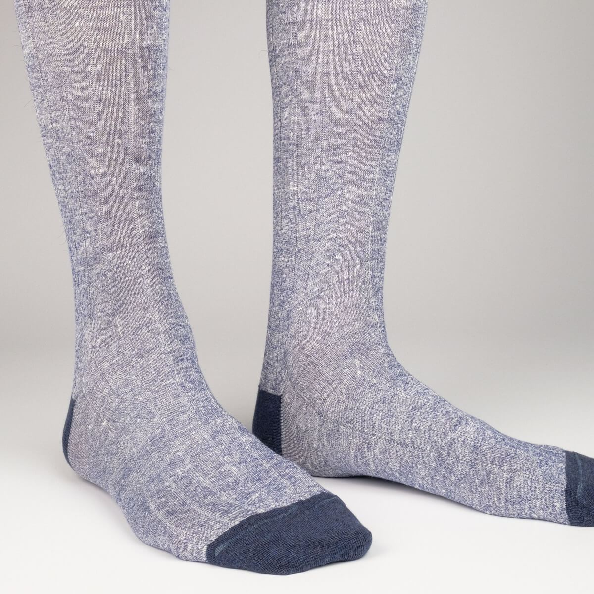 Ribbed Linen - Blue - Mens Socks | Etiquette Clothiers Global Official