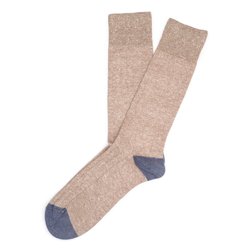 Ribbed Linen - Brown Melange - Socks - Etiquette - global.etiquetteclothiers.com