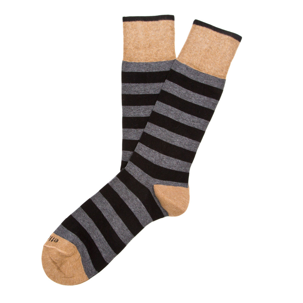 Rugby Stripes - Dark Grey Heather - Socks - Etiquette - global.etiquetteclothiers.com