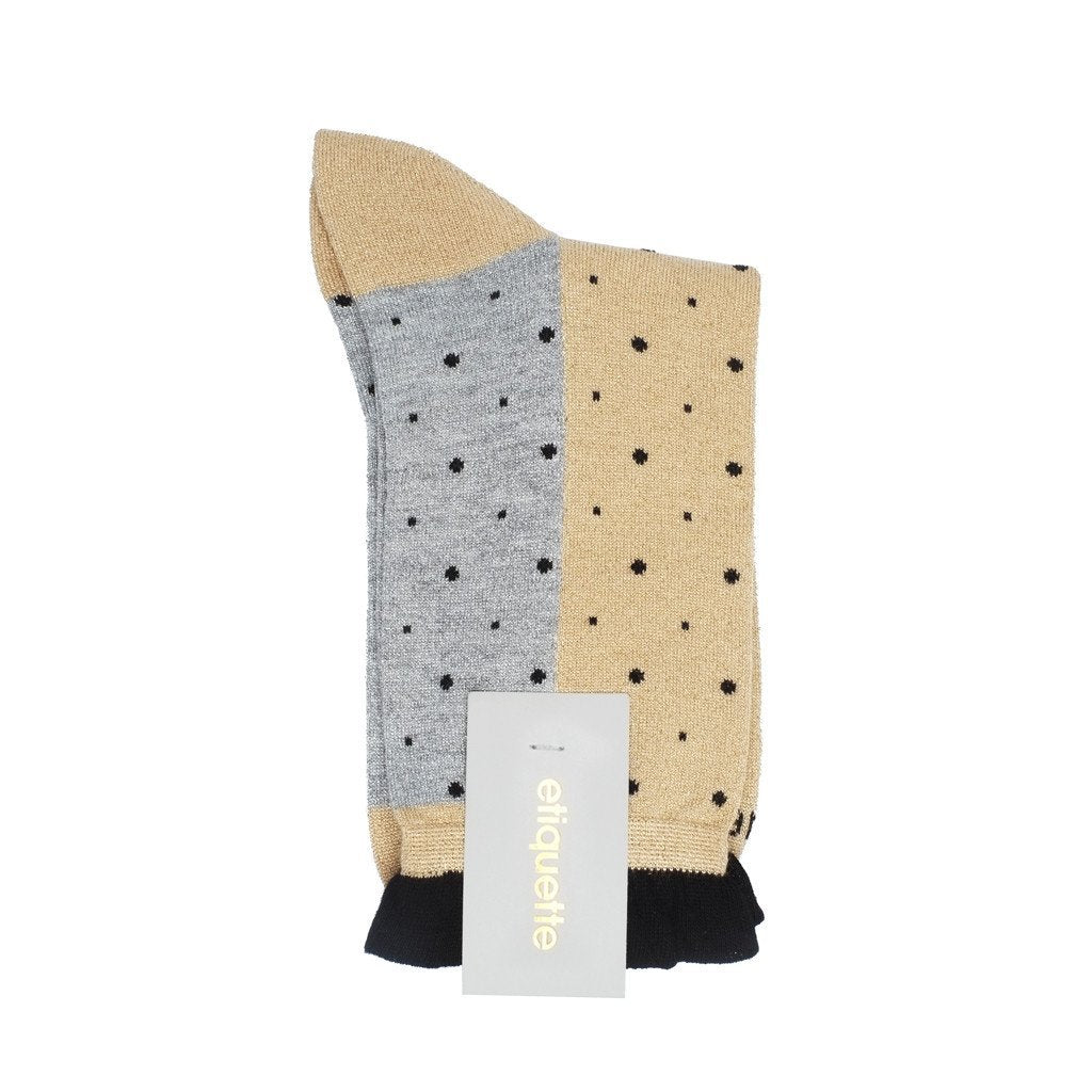 Multi Dots - Gold Metallic - Womens Socks | Etiquette Clothiers Global Official