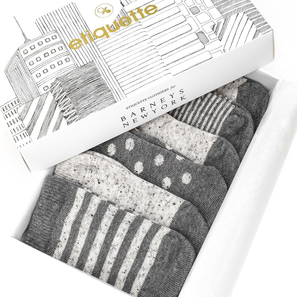 Etiquette X Barneys - Heather Grey and Nope Yarn - Baby Socks - Etiquette - global.etiquetteclothiers.com