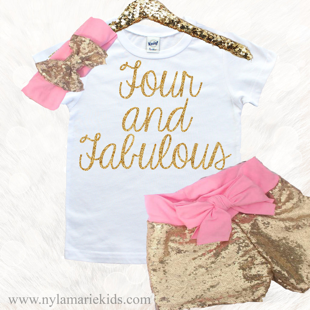 4th Birthday Outfit Girl Fourth Shirt Four Year Old Gi NylaMarieKids