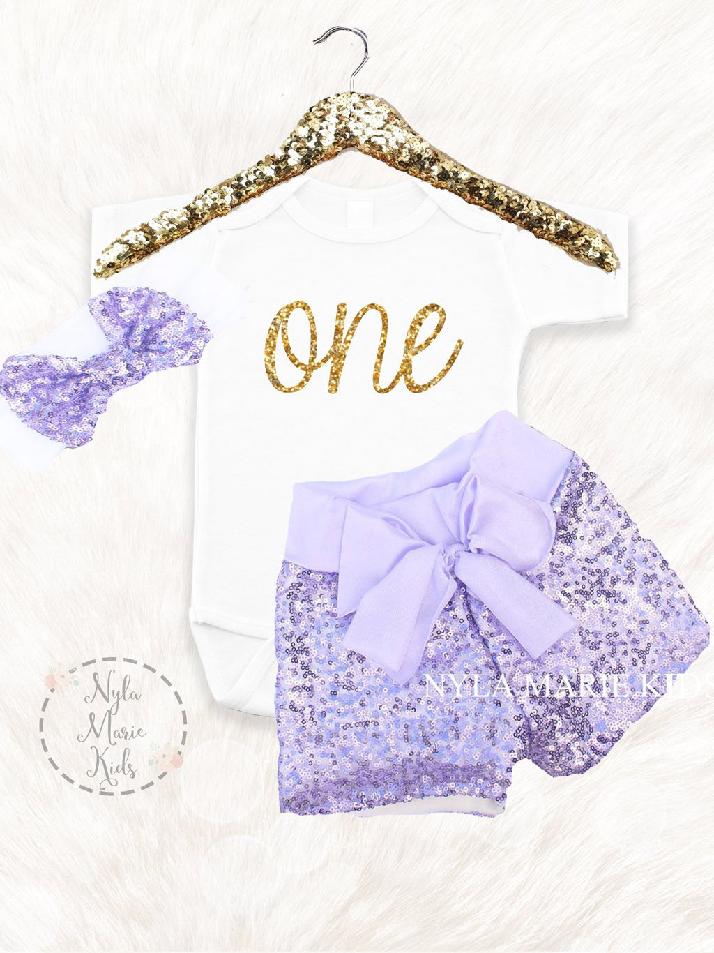 97894e1f Purple First Birthday Outfit with Glitter Gold Onesie and Baby Sequin Shorts