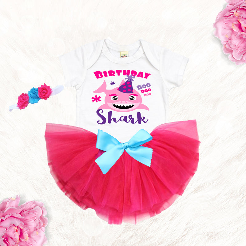 b3d8833525ca2 Baby Shark 1st Birthday Girl Outfit, One Year Old Girl Birthday Outfit,  Shark Girl First Birthday