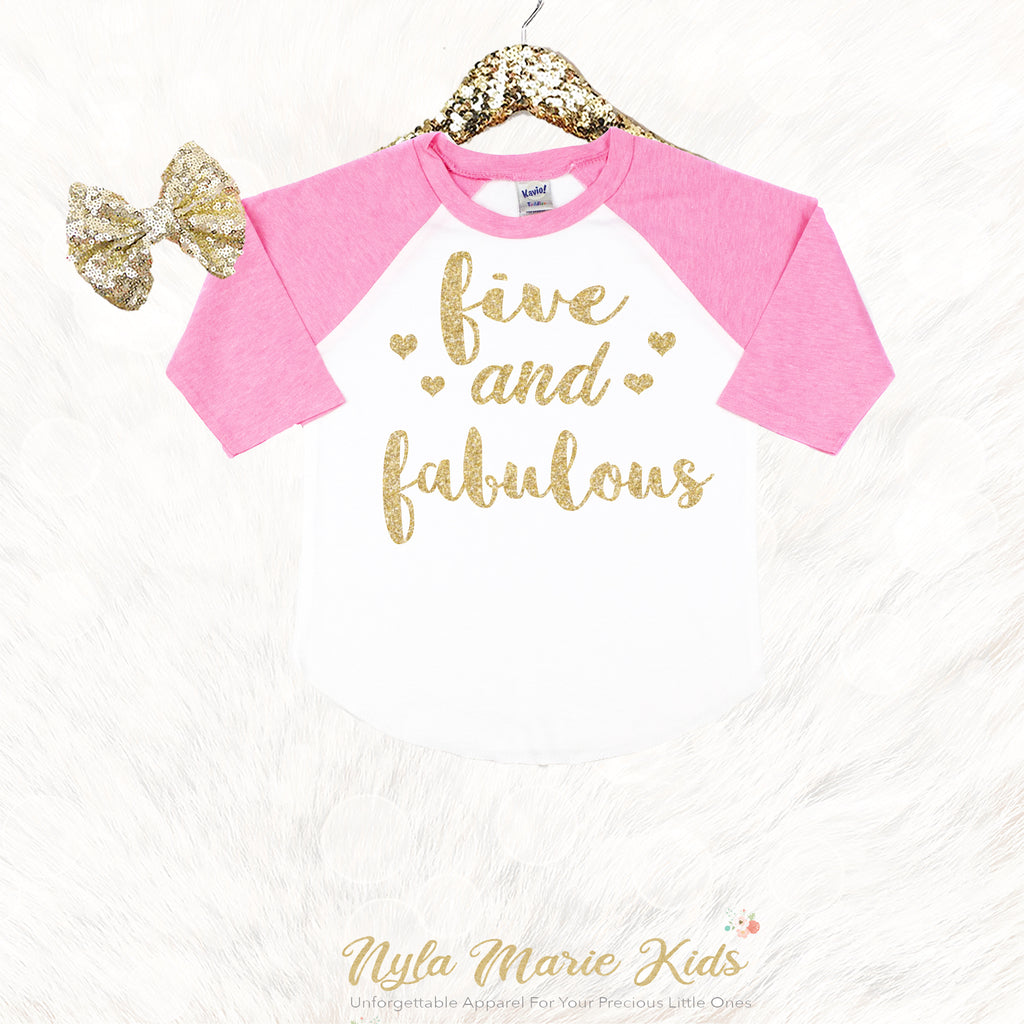 5 Year Old Birthday Girl Shirt 5th Outfit Five And Fabulous