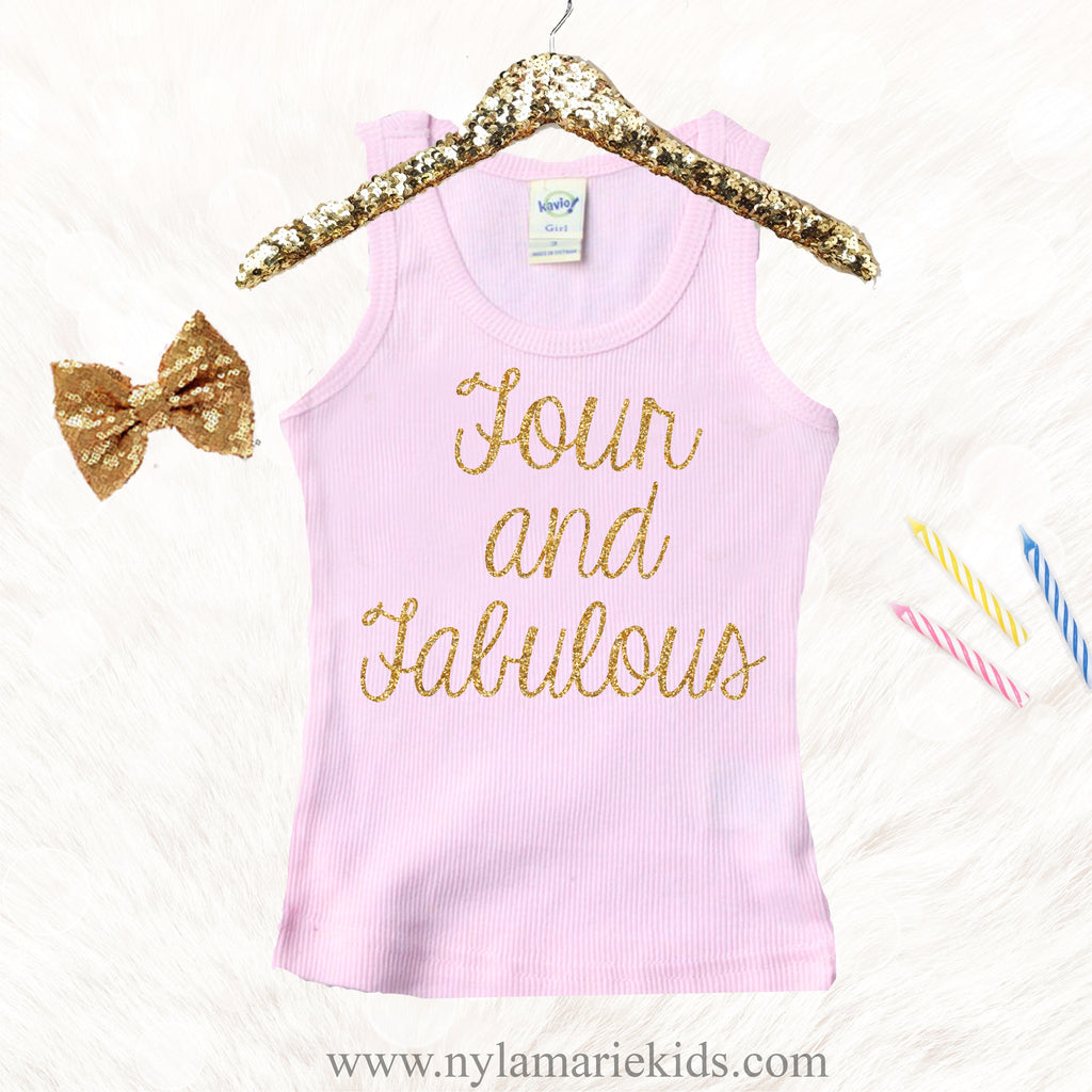 Girls 4th Birthday Shirt Four Year Old Girl Outfit Outf NylaMarieKids