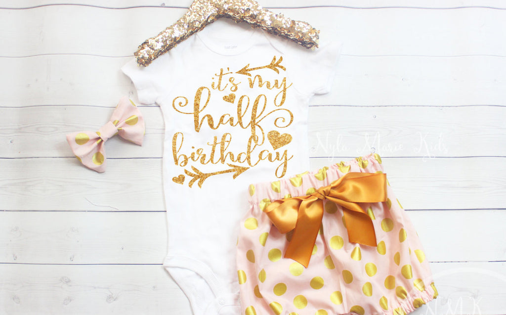 19a2e1c6 Baby Girl Gold and Pink Half Birthday Outfit, Half Birthday Shirt Girl, 6  Month Birthday Girl