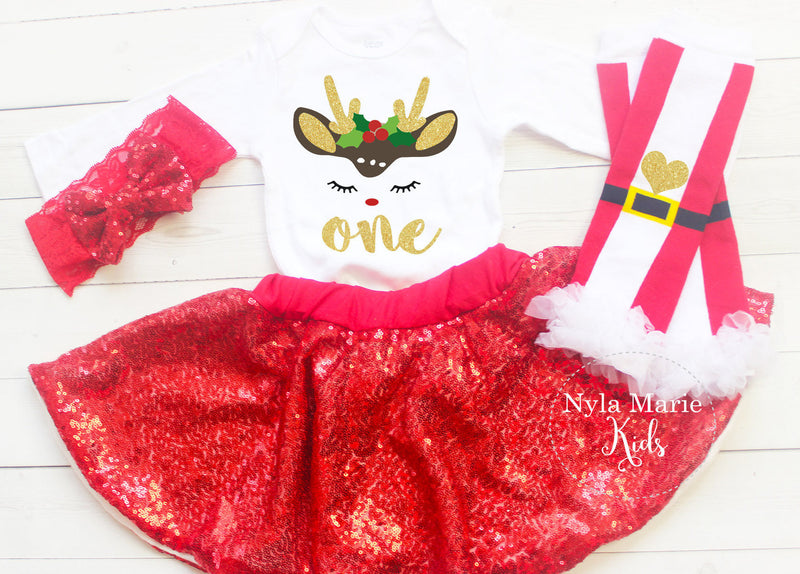 2e6dffe235f9c Baby Girl Christmas Birthday Outfit, Red Sequin Skirt, Baby Girl Headband