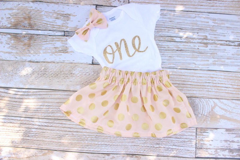 715d088fc7 Pink and Gold First Birthday Outfit