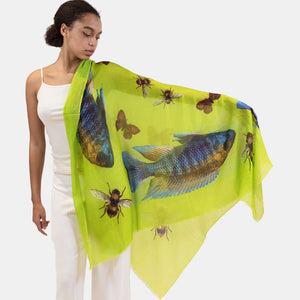 """BUTTERFLY & FISH"" HANDPRINTED SCARF - GREEN"