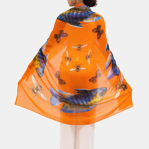 BUTTERFLY & FISH SCARF - ORANGE