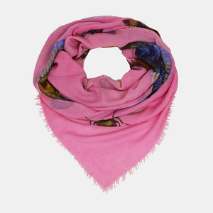 """BUTTERFLY & FISH"" HANDPRINTED SCARF - PINK"
