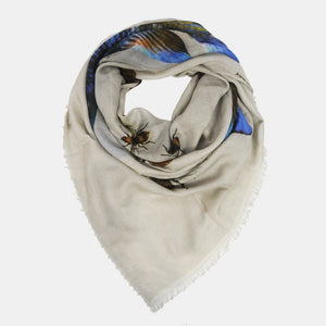 BUTTERFLY & FISH SCARF - GREY
