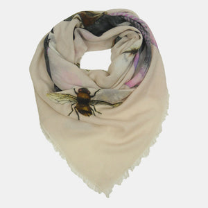 """BUTTERFLY & FISH"" HANDPRINTED SCARF - TAUPE"