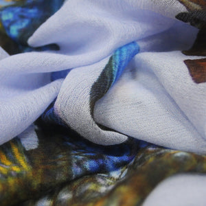 """BUTTERFLY & FISH"" HANDPRINTED SCARF - BLUE"