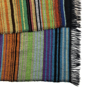 COLOURFUL STRIPE SCARF BIG - BLACK